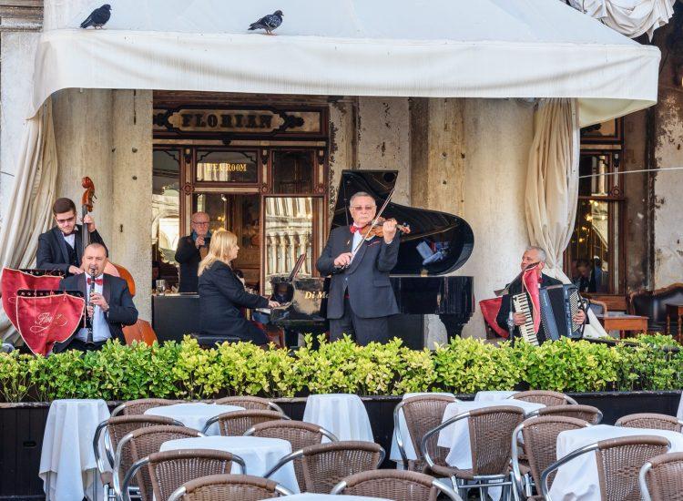 Venice, Italy - October 23, 2018: Famous restaurant Florian Piazza San Marco